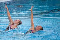 STANFORD, CA - FEBRUARY 12, 2011: Olivia Morgan and Maria Koroleva at Avery Aquatic Center, February 12, 2011 in Stanford, California.