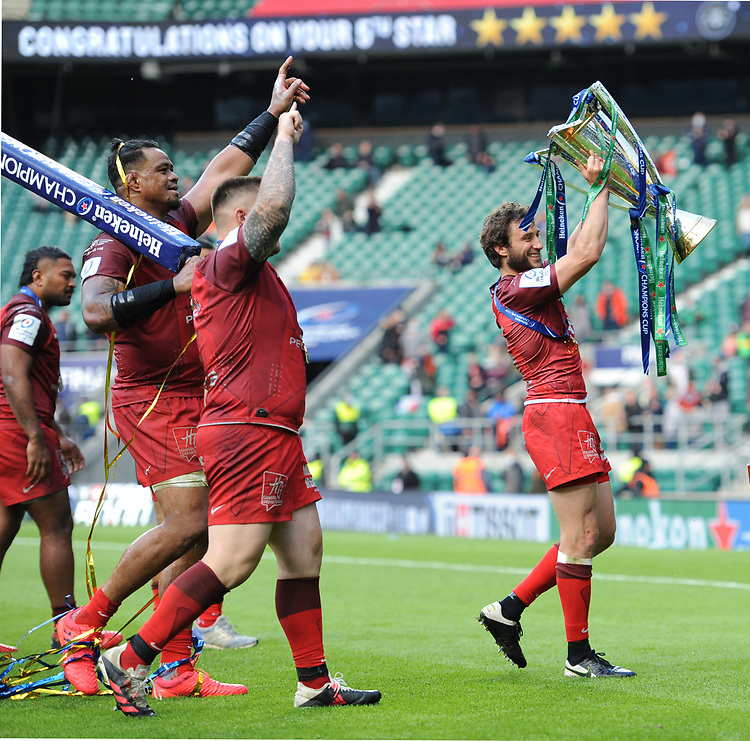 Maxime Médard of Toulouse celebrates winning the Heineken Champions Cup Final match between La Rochelle and Toulouse at Twickenham Stadium on Saturday 22 May 2021 (Photo by Rob Munro/Stewart Communications)