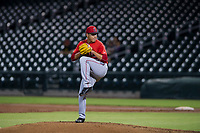 AZL Angels starting pitcher Jose Natera (87) delivers a pitch against the AZL Cubs on August 31, 2017 at Sloan Park in Mesa, Arizona. AZL Cubs defeated the AZL Angels 9-2. (Zachary Lucy/Four Seam Images)