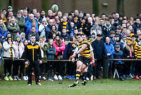 Saturday 18th February 2017   CCB vs RBAI<br /> <br /> James Hume during the Ulster Schools' Cup Quarter Final clash between Campbell College Belfast and RBAI at Foxes Field, Campbell College, Belmont, Belfast, Northern Ireland.<br /> <br /> Photograph by John Dickson   www.dicksondigital.com