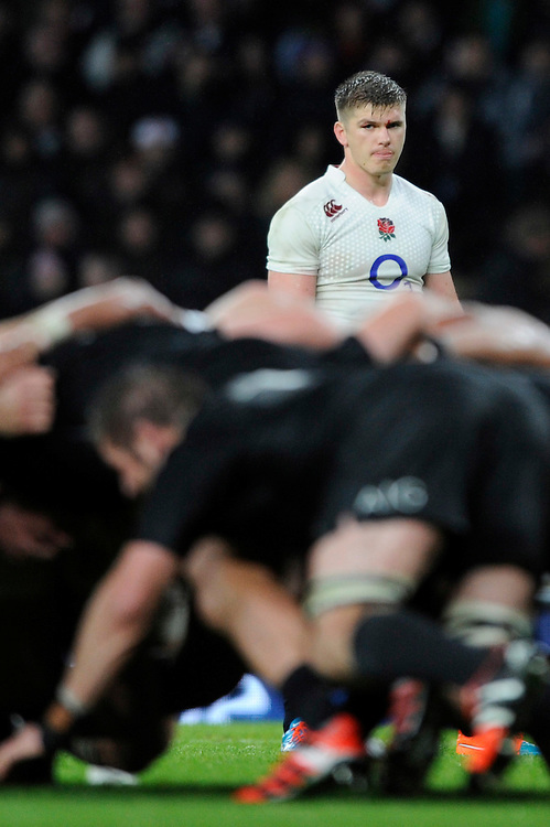 Owen Farrell of England looks on during the QBE International match between England and New Zealand at Twickenham Stadium on Saturday 8th November 2014 (Photo by Rob Munro)