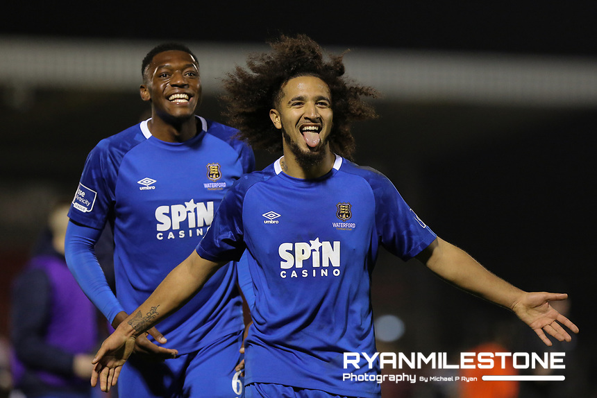 SSE Airtricity League Premier Division,<br /> Cork City vs Waterford FC<br /> Friday 22nd February 2019,<br /> Turners Cross, Co Cork.<br /> Bastien Hery and Maxim Kouogun of Waterford celebrate at the end of the game.<br /> Mandatory Credit: Michael P Ryan