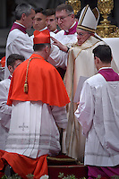 Archbishop of Chicago Blase Joseph Cupich,Pope Francis, during a consistory at Peter's basilica. Pope Francis has named 17 new cardinals, on November 19, 2016