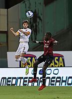 29th August 2021;  Estadio Arechi, Salerno, Campania, Italy;  Serie A Football league, Salernitana versus Roma; Matia Vina of AS Roma wins the header over Mamadou Coulibaly of Salernitana