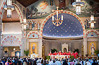 August 24, 2017; ND Trail day 11: President Emeritus Rev. Edward A. Malloy, C.S.C. celebrates Mass at St. Pius X church in Granger, IN. (Photo by Matt Cashore/University of Notre Dame)