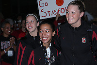 6 April 2008: Stanford Cardinal (L-R) JJ Hones, Rosalyn Gold-Onwude, and Jayne Appel during Stanford's send-off for the 2008 NCAA Division I Women's Basketball Final Four semifinal game at the Westin Harbour Island hotel in Tampa, FL.
