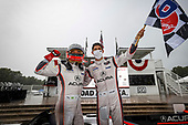 #7 Acura Team Penske Acura DPi, DPi: Helio Castroneves, Ricky Taylor, podium, celebration, winners