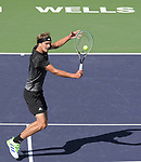 Alexander Zverev (GER) is defeated by Taylor Fritz (USA) 6-4, 3-6, 6-7 (3-7), at the BNP Paribas Open being played at Indian Wells Tennis Garden in Indian Wells, California on October 15,2021: ©Karla Kinne/Tennisclix/CSM
