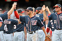 3 September 2012: Washington Nationals second baseman Danny Espinosa celebrates a win after a game against the Chicago Cubs at Nationals Park in Washington, DC. The Nationals edged out the visiting Cubs 2-1, in the first game of heir 4-game series. Mandatory Credit: Ed Wolfstein Photo