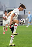 WASHINGTON, DC - SEPTEMBER 6: Maryland forward Hunter George (7) controls the ball during a game between University of Virginia and University of Maryland at Audi Field on September 6, 2021 in Washington, DC.