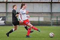 Summer Rogiers (8) of Zulte Waregem and Niekie Pellens (41) of Eendracht Aalst  pictured during a female soccer game between SV Zulte - Waregem and Eendracht Aalst on the 9 th matchday in play off 2 of the 2020 - 2021 season of Belgian Scooore Womens Super League , saturday 22 nd of May 2021  in Zulte , Belgium . PHOTO SPORTPIX.BE   SPP   DIRK VUYLSTEKE