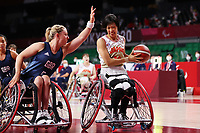 25th August 2021; Tokyo, Japan; Sophie Carrigill(GBR), Chihiro Kitada (JPN),  Wheelchair Basketball : Women's Preliminary Round Group A match between Japan - Great Britain<br /> during the Tokyo 2020 Paralympic Games at the Musashino Forest Sport Plaza in Tokyo, Japan.