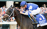 October 8, 2021: Juju's Map #1, ridden by jockey Florent Geroux wins the Darley Alcibiades (Grade 1) on opening day at Keeneland Racecourse in Lexington, K.Y. on October 8th, 2021. Candice Chavez/Eclipse Sportswire/CSM