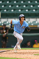 FCL Rays Shane Sasaki (37) bats during a game against the FCL Pirates Gold on July 26, 2021 at LECOM Park in Bradenton, Florida. (Mike Janes/Four Seam Images)