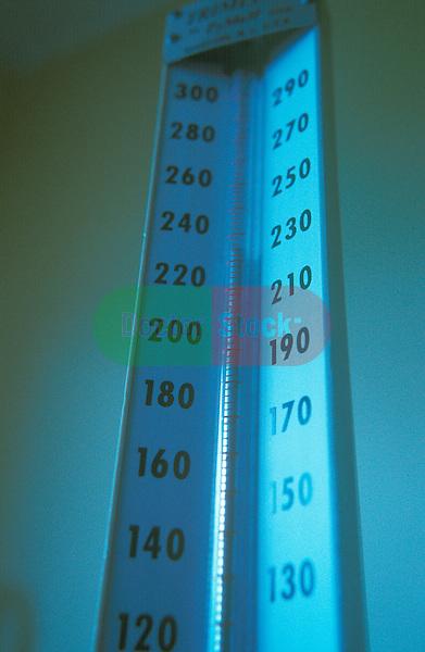 close-up of mercury rising on gauge on sphygmomanometer