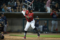 Yolbert Sanchez (29) of the Birmingham Barons at bat against the Mississippi Braves at Regions Field on August 3, 2021, in Birmingham, Alabama. (Brian Westerholt/Four Seam Images)