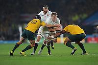 Joe Launchbury of England runs into Matt Giteau and Sekope Kepu of Australia during Match 26 of the Rugby World Cup 2015 between England and Australia - 03/10/2015 - Twickenham Stadium, London<br /> Mandatory Credit: Rob Munro/Stewart Communications