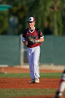 Logan Wagner (2) during the WWBA World Championship at Terry Park on October 10, 2020 in Fort Myers, Florida.  Logan Wagner, a resident of Aurora, Illinois who attends homeschooled, is committed to Louisville.  (Mike Janes/Four Seam Images)