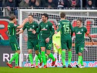 17.03.2018,  Football 1.Liga 2017/2018, 27. match day, FC Augsburg - SV Werder Bremen, in WWK-Arena Augsburg,  Ishak Belfodil (middle, SV Werder Bremen). and Niklas Moisander (SV Werder Bremen), Sebastian Langkamp (SV Werder Bremen), Max Kruse (SV Werder Bremen). *** Local Caption *** © pixathlon<br /> <br /> +++ NED out !!! +++<br /> Contact: +49-40-22 63 02 60 , info@pixathlon.de