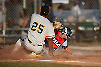 JT Mounce slides home as Jason Diaz (25) covers the plate during the WWBA World Championship at the Roger Dean Complex on October 20, 2018 in Jupiter, Florida.  JT Mounce is an outfielder from Cypress, Texas who attends Cypress Christian School and is committed to Oklahoma State.  (Mike Janes/Four Seam Images)