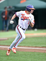 Clemson Tigers designated hitter Tyler Krieger (3) runs to first during a game against the Notre Dame Fighting Irish during game one of a double headers at Doug Kingsmore Stadium March 14, 2015 in Clemson, South Carolina. The Tigers defeated the Fighting Irish 6-1. (Tony Farlow/Four Seam Images)