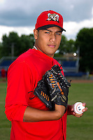 Batavia Muckdogs pitcher Daniel Miranda #40 poses for a photo before the first day of practice for the start of the NY-Penn League at the Dwyer Stadium in Batavia, New York;  June 13, 2011.  (Mike Janes/Four Seam Images)
