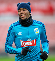 21st November 2020; Bet365 Stadium, Stoke, Staffordshire, England; English Football League Championship Football, Stoke City versus Huddersfield Town; Jaden Brown of Huddersfield Town during the warm up