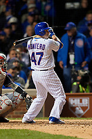 Chicago Cubs Miguel Montero (47) bats in the sixth inning during Game 5 of the Major League Baseball World Series against the Cleveland Indians on October 30, 2016 at Wrigley Field in Chicago, Illinois.  (Mike Janes/Four Seam Images)