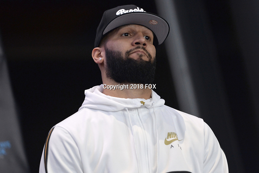 BROOKLYN, NY - DECEMBER 20: Boxer Carlos Negron on stage during the Fox Sports and Premier Boxing Champions press conference for the December 22 Fox PBC Fight Night at the Barclay Center on December 20, 2018 in Brooklyn, New York. (Photo by Anthony Behar/Fox Sports/PictureGroup)