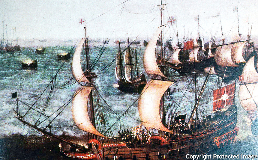 Ships:  English Man 'O' War, 1588.  Part of painting launching of fire ships by unknown artist.