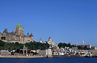 Château Frontenac from the other bank of the Saint Lawrence River, Quebec City, Quebec, Canada.