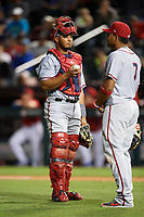 Syracuse Chiefs catcher Raudy Read (21) and Adrian Sanchez (7) during a game against the Buffalo Bisons on July 6, 2018 at Coca-Cola Field in Buffalo, New York.  Buffalo defeated Syracuse 6-4.  (Mike Janes/Four Seam Images)