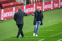 3rd October 2020; Riverside Stadium, Middlesbrough, Cleveland, England; English Football League Championship Football, Middlesbrough versus Barnsley; Barnsley FC Manager Gerhard Struber and Middlesbrough FC Manager Neil Warnock fist pump at the final whistle. Middlesbrough FC 2 -1 Barnsley FC