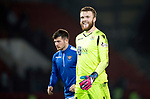 St Johnstone v Aberdeen…..24.11.19   McDiarmid Park   SPFL<br />All smiles Zander Clark at full time as he made some great saves to keep saints in the game after going down to nine men<br />Picture by Graeme Hart.<br />Copyright Perthshire Picture Agency<br />Tel: 01738 623350  Mobile: 07990 594431