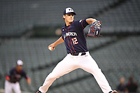 TEMPORARY UNEDITED FILE:  Image may appear lighter/darker than final edit - all images cropped to best fit print size.  <br /> <br /> Under Armour All-American Game presented by Baseball Factory on July 20, 2018 at Wrigley Field in Chicago, Illinois.  (Mike Janes/Four Seam Images) Quinn Priester is a pitcher from Cary-Grove Community High School in Cary, Illinois committed to TCU.