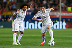 Real Madrid´s Marcelo Vieira and James Rodriguez during quarterfinal first leg Champions League soccer match at Vicente Calderon stadium in Madrid, Spain. April 14, 2015. (ALTERPHOTOS/Victor Blanco)