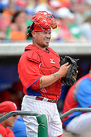 Philadelphia Phillies catcher Humberto Quintero #12 before a Spring Training game against the Boston Red Sox at Bright House Field on March 24, 2013 in Clearwater, Florida.  Boston defeated Philadelphia 7-6.  (Mike Janes/Four Seam Images)