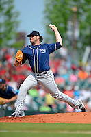 Mobile BayBears pitcher David Holmberg #40 during a game against the Montgomery Biscuits on April 16, 2013 at Riverwalk Stadium in Montgomery, Alabama.  Montgomery defeated Mobile 9-3.  (Mike Janes/Four Seam Images)