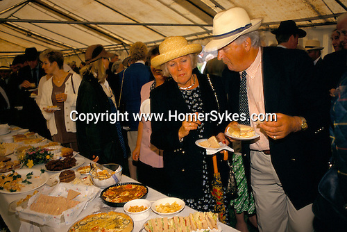 Tea tent at annual summer puppy show Quantock Staghounds 1990s Uk. 1997