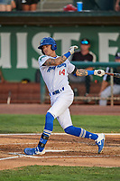 Josh Broughton (14) of the Ogden Raptors at bat against the Grand Junction Rockies at Lindquist Field on June 5, 2021 in Ogden, Utah. The Raptors defeated the Rockies 18-1. (Stephen Smith/Four Seam Images)