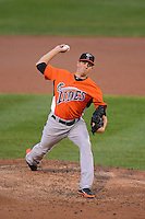 Norfolk Tides starting pitcher Kevin Gausman (41) during a game against the Rochester Red Wings on July 27, 2013 at Frontier Field in Rochester, New York.  Rochester defeated Norfolk 4-2.  (Mike Janes/Four Seam Images)