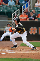 Aberdeen IronBirds Kyle Stowers (44) bats during a NY-Penn League game against the Vermont Lake Monsters on August 18, 2019 at Leidos Field at Ripken Stadium in Aberdeen, Maryland.  Vermont defeated Aberdeen 6-5.  (Mike Janes/Four Seam Images)