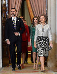 Spanish Royals Princess Elena (2l), Princess Letizia (2r), Prince Felipe (l) and Queen Sofia receive International Olympic Committee Evaluation Commission Team for a dinner at the Royal Palace.March 20,2013. (ALTERPHOTOS/Pool)