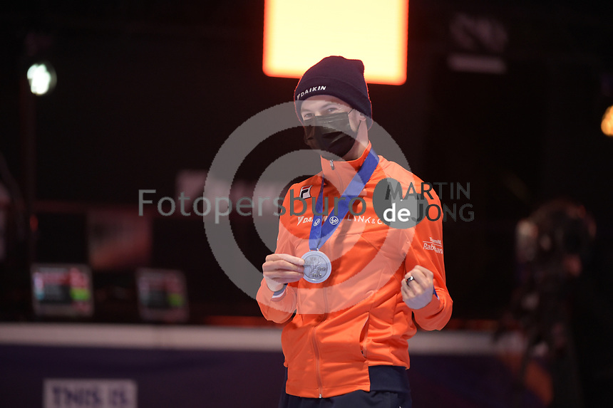 SPEEDSKATING: DORDRECHT: 06-03-2021, ISU World Short Track Speedskating Championships, Podium 1500m Men, Itzhak de Laat (NED), ©photo Martin de Jong