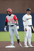 Ohio State Buckeyes pitcher Sam Wilson (33) celebrates after hitting a double against the Michigan Wolverines on April 9, 2021 in NCAA baseball action at Ray Fisher Stadium in Ann Arbor, Michigan. Ohio State beat the Wolverines 7-4. (Andrew Woolley/Four Seam Images)