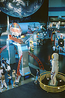 Space Center Houston. Main exhibit floor. Astronaut made of Lego blocks, right foreground. Tourists. Houston Texas, Johnson Space Center.