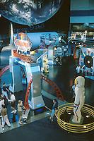 Space Center Houston. Main exhibit floor. Astronaut made of Lego blocks, right foreground. Tourists. Houston Texas, Johnson Space Center.