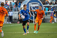 SAN JOSE, CA - JULY 24: Shea Salinas #6 of the San Jose Earthquakes evades Zarek Valentin #4 of the Houston Dynamo during a game between San Jose Earthquakes and Houston Dynamo at PayPal Park on July 24, 2021 in San Jose, California.