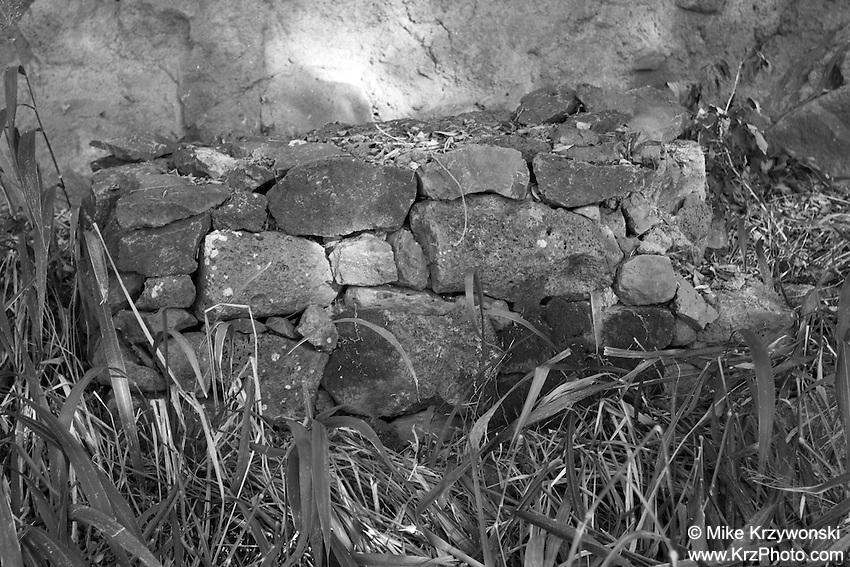 Stone altar outside of burial cave above Waimea Bay, North Shore, Oahu, Hawaii