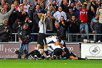 ATTENTION SPORTS PICTURE DESK<br /> Pictured: Swansea City players celebrate <br /> Re: Coca Cola Championship, Swansea City Football Club v Cardiff City FC at the Liberty Stadium, Swansea, south Wales. Saturday 07 November 2009
